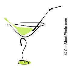 わら, ガラス, アルコール, カクテル