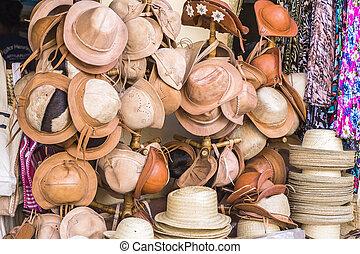 わら, ブラジル, 店, 革, 帽子, 技能