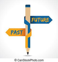 を過ぎて, 矢, 鉛筆, 未来