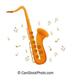 アイコン, クラブ, 音楽, 概念, 楽器, サクソフォーン, conservatories., ノート。