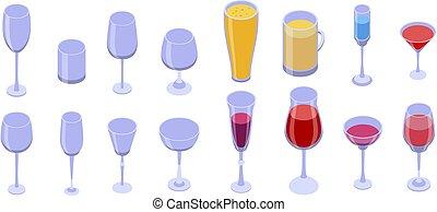 アイコン, スタイル, 等大, セット, wineglass