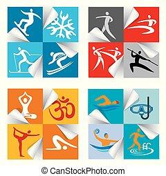 アイコン, スポーツ, フィットネス, stickers.