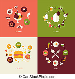 アイコン, セット, レストラン, 平ら