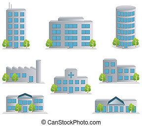 アイコン, セット, 建物
