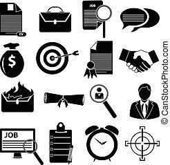 アイコン, セット, 雇用