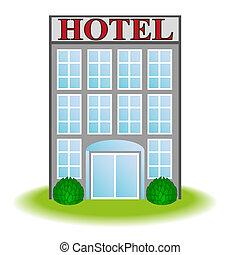 アイコン, ベクトル, ホテル