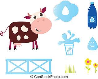 アイコン, ミルク雌牛, 隔離された, コレクション, 搾乳場, 白