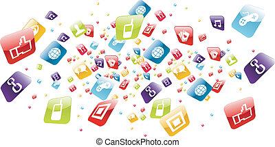 アイコン, モビール, 世界的である, apps, 電話, はね返し