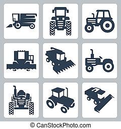 アイコン, 収穫機, 隔離された, ベクトル, コンバイン, トラクター