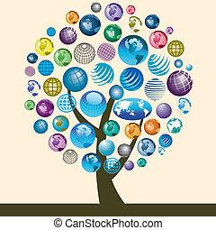 アイコン, 地球, カラフルである, 木