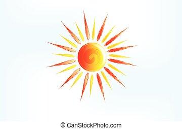 アイコン, 太陽, ロゴ