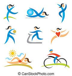 アイコン, 女, スポーツ, 健康