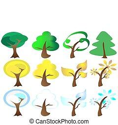 アイコン, 季節, 4, 木