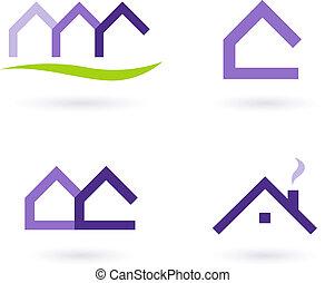 アイコン, 実質, -, ロゴ, ベクトル, 緑, 紫色, 財産