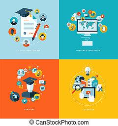 アイコン, 平ら, 教育, デザイン