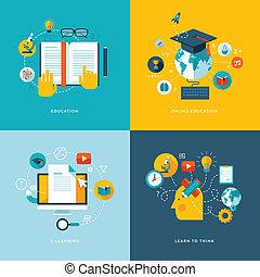 アイコン, 平ら, 概念, 教育