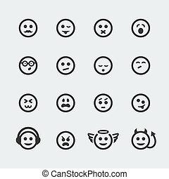アイコン, 微笑, #2, セット, ベクトル, ミニ