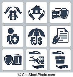 アイコン, 戦略, 事業保険, 生活, 旅行, 危険, 堆積, 家族, ベクトル, 保険, 商品, set:, 家, 自動車
