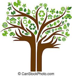 アイコン, 手, 木, 2, 生態学的