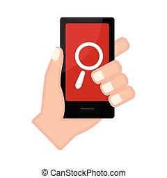 アイコン 検索, smartphone, 手を持つ