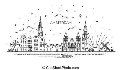 アイコン, 歴史的, 旅行, アムステルダム, 建物, 薄くなりなさい, ランドマーク, 線
