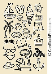 アイコン, 浜, 図画, 手