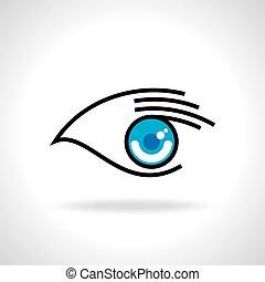 アイコン, 目, 創造的, 手