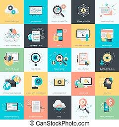 アイコン, 網の開発, デザイン, 平ら