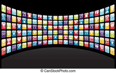 アイコン, 背景, app, iphone