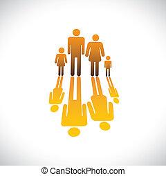 アイコン, 色, 人々, オレンジ, イラスト, 父, 娘, 家族, 息子, グラフィック, symbols-, 4, 反射, &, 母