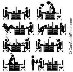 アイコン, 隔離された, オフィス, セット, 白, 状態, 平ら