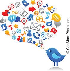 アイコン, 青, 社会, 鳥, 媒体