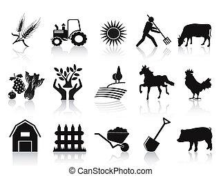 アイコン, 黒, セット, 農場, 農業
