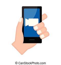 アイコン, smartphone, フィルム, 手を持つ