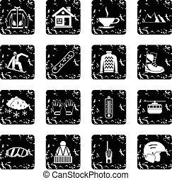 アイコン, snowboarding, スタイル, セット, グランジ