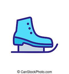 アイススケートをする, シンボル, アイコン, イラスト, 輪郭, vector., 隔離された