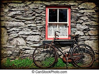 アイルランド, グランジ, 手ざわり, 田園, コテッジ, 自転車