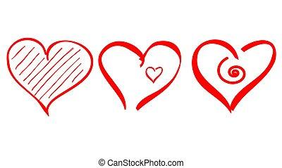 アウトライン, アイコン, 心, ストローク, 形, ロゴ, ブラシ, 愛, ベクトル, ドロー