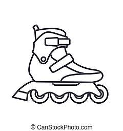 アウトライン, スケート, 隔離された, イラスト, バックグラウンド。, ベクトル, フィットネス, インラインである, 白, ローラー, アイコン