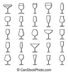 アウトライン, スタイル, アイコン, wineglass, セット, 家