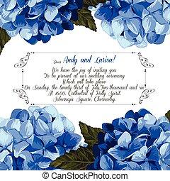 アジサイ, 結婚式, vector., 招待, あなたの, design.