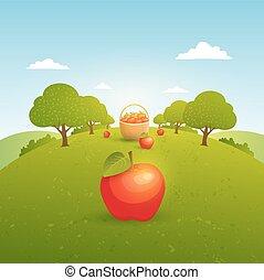アップル, イラスト, 庭