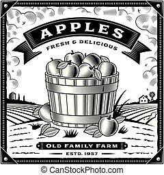 アップル, ラベル, 黒, レトロ, 白, 収穫, 風景
