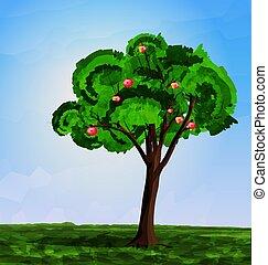 アップル, 抽象的, 木の景色