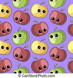 アップル, seamless, 漫画, パターン, かわいい, ベクトル