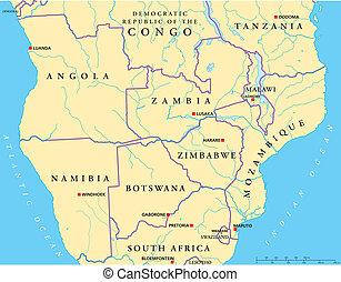 アフリカ, south-central, 政治的である, 地図
