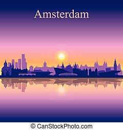 アムステルダム, スカイラインのシルエット, 背景, 都市