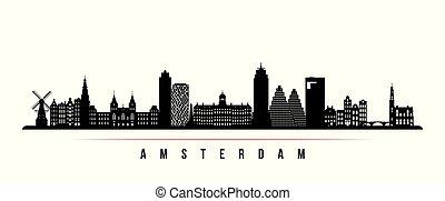 アムステルダム, スカイライン, 都市, 横, banner.
