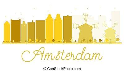 アムステルダム, スカイライン, 金, 都市, silhouette.