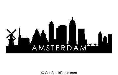 アムステルダム, スカイライン, silhouette.